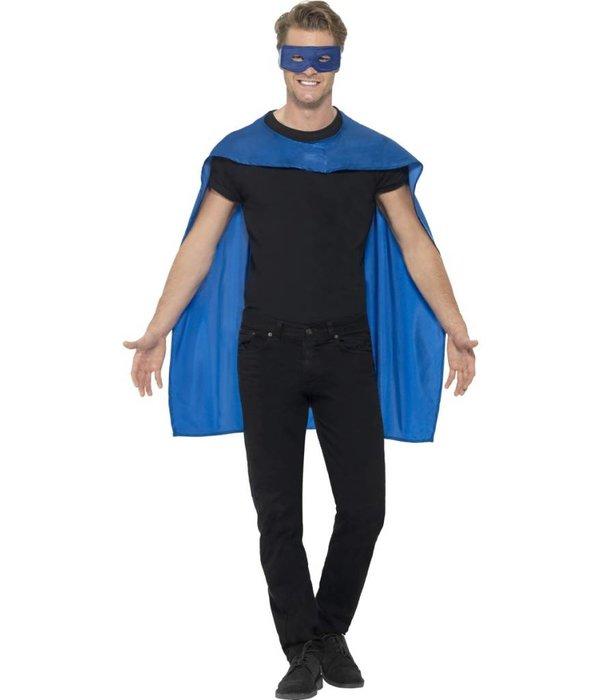 Superhero cape met masker blauw