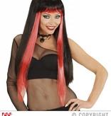 Gothic glamour pruik zwart/rood