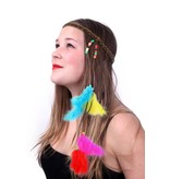 Hoofdbandje hippie/ibiza met kralen en veertjes multicolour
