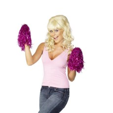 Cheerleader Pom Poms Metallic Pink