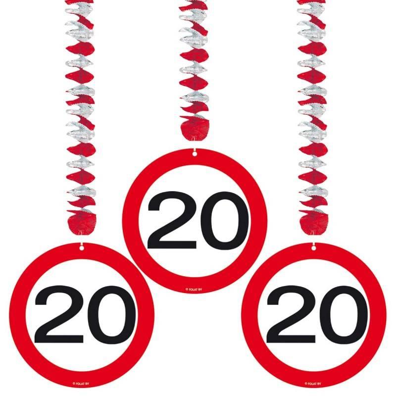 20 Jaar Verkeersbord Hangdecoratie - 3 stuks