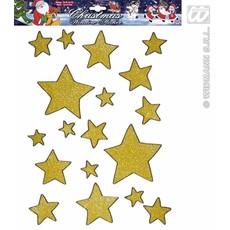 Gouden glitter ster stickers 18 stuks