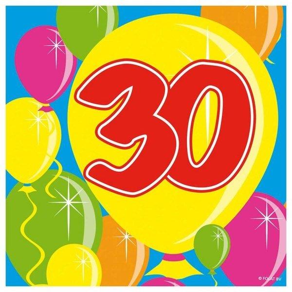 30 jaar servetten balloons - 20 stuks