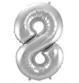 Zilveren Folieballon Cijfer 8 - 86 cm