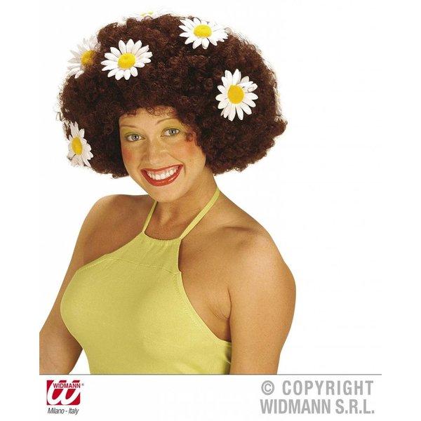 Krulpruik Daisy bruin oversized met bloemen