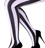 Panty verticale strepen zwart/wit