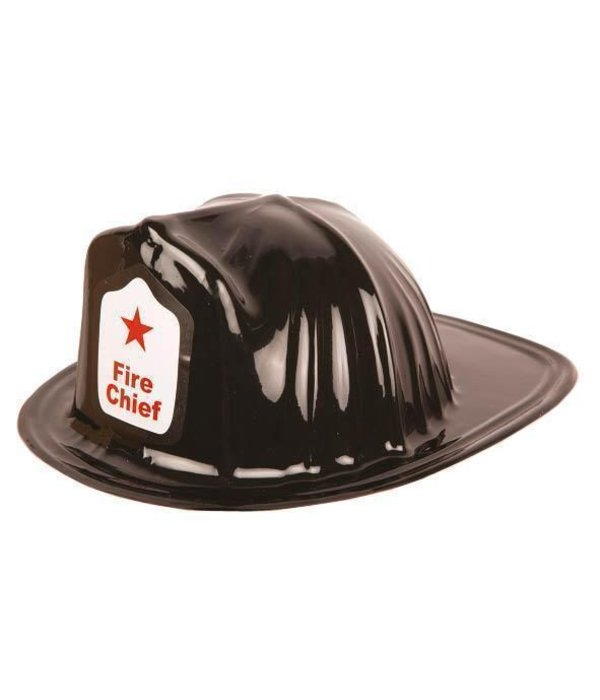 Brandweerhelm kind zwart plastic