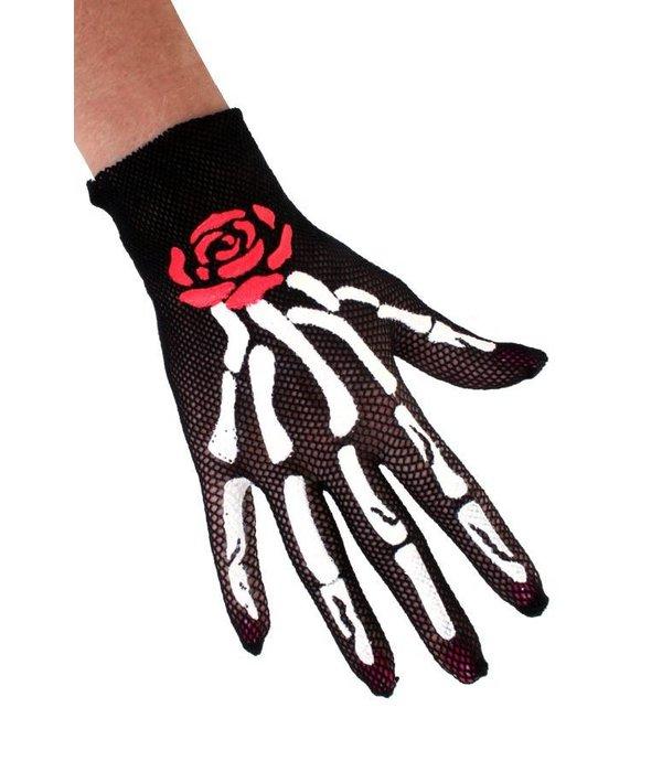 Nethandschoenen botten met roos