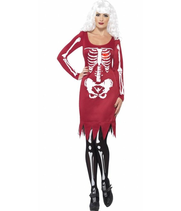 Skeleton beauty kostuum rood