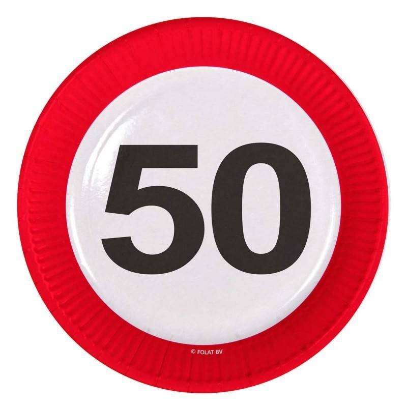 bord 50 jaar 50 Jaar Verkeersbord Borden   8 stuks   Feestbazaar.nl bord 50 jaar