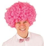 Pruik krullenbol groot roze