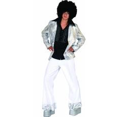 Disco jas glitter zilver man