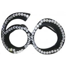 Funbril 60 met steentjes zwart