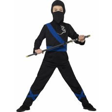 Ninja assasin pakje kind zwart/blauw