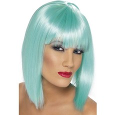Pruik Glam neon aqua blauw