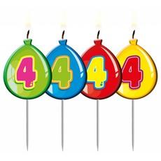 Nummer kaarsje ballon cijfer 4