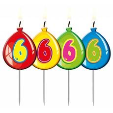 Nummer kaarsje ballon cijfer 6