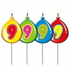 Nummer kaarsje ballon cijfer 9