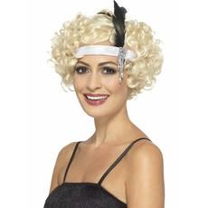 Jaren 20 hoofdband wit met veer en juweel