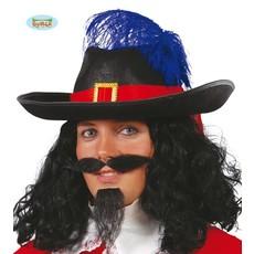 Musketiers hoed zwart met rode band