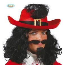 Musketiers hoed rood met zwarte band