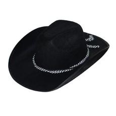 Cowboy hoed zwart met koord
