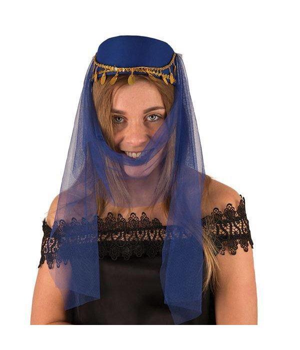 Hoed harem dame blauw