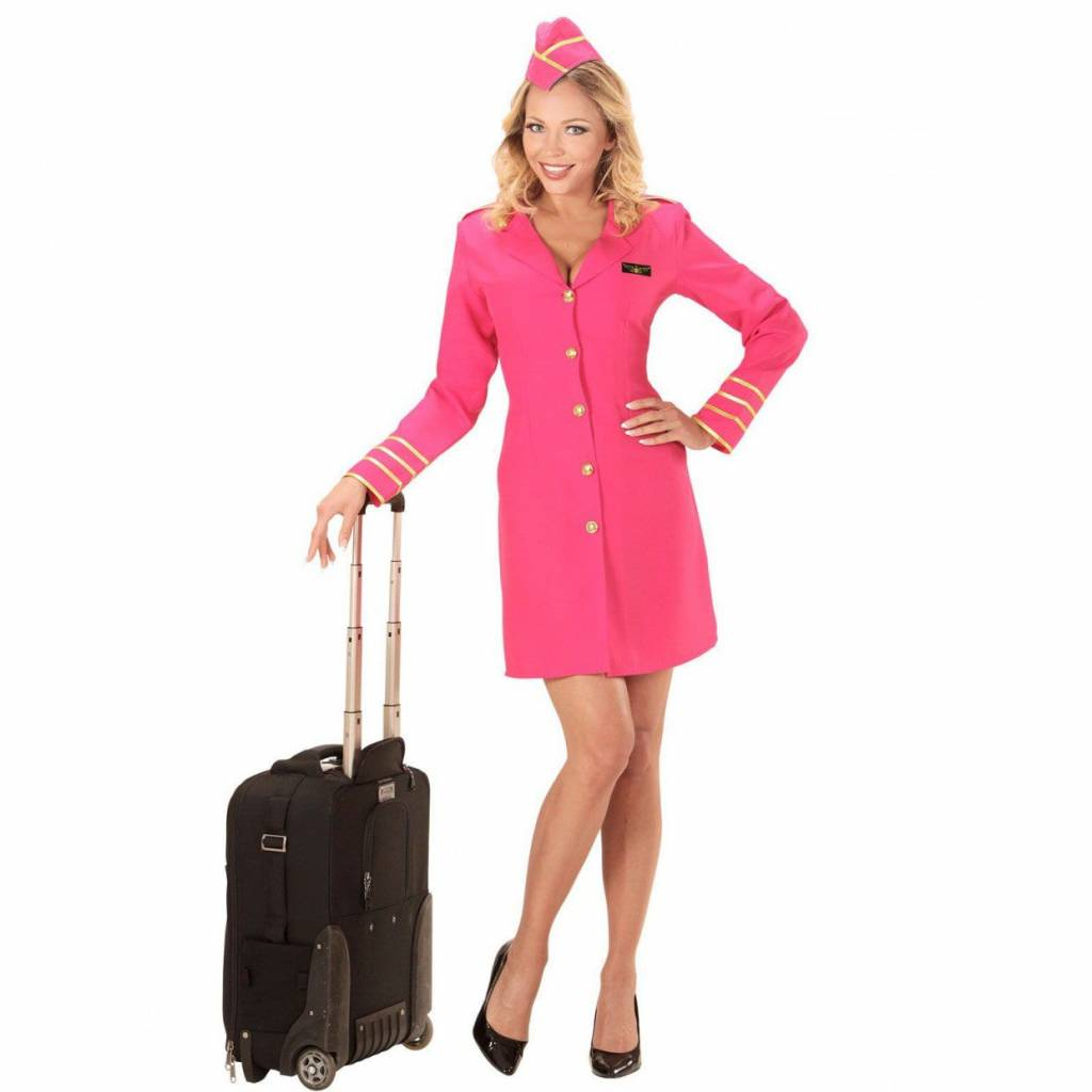 Verkleedkleding Stewardess Pink