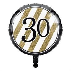 Folieballon '30' Black & Gold (46cm)