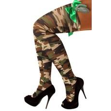 Stay-up kousen camouflage+strik+handgranaat