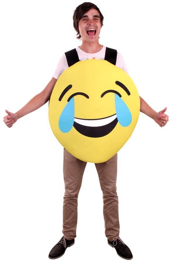 Emoticon smiley lachend kostuum