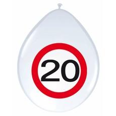 20 Jaar Verkeersbord Ballonnen - 8 stuks