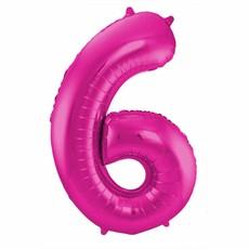 Roze Folieballon Cijfer 6 - 86 cm