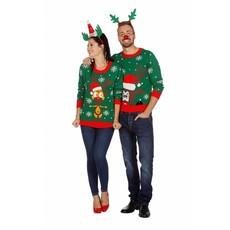 Grappige Kersttrui groen rendierhoofd
