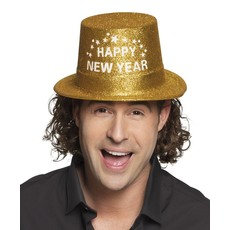 Hoed Glitter goud 'Happy New Year'