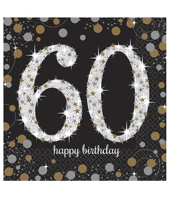 60 jaar Servetten 60 jaar Sparkling Celebration   Feestbazaar.nl 60 jaar