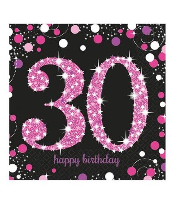 afbeelding 30 jaar Servetten 30 jaar Sparkling Pink   Feestbazaar.nl afbeelding 30 jaar