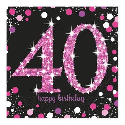 afbeelding 40 jaar Servetten 40 jaar Sparkling Pink   Feestbazaar.nl afbeelding 40 jaar