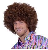 Bruine Afro pruik