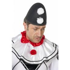 Punt hoed zwart/wit Pierrot