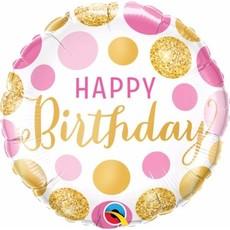Pin & Gold stippen Happy birthday folie ballon 45cm