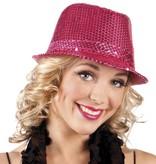 Disco hoed pailletten hot pink