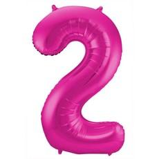 Roze Folieballon Cijfer 2 - 86 cm
