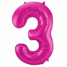 Roze Folieballon Cijfer 3 - 86 cm