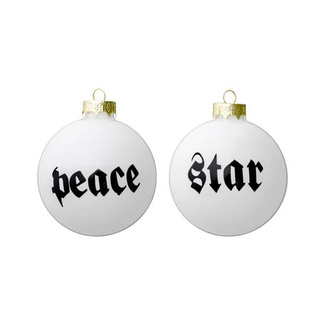 set van 4 kerstballen peace and star