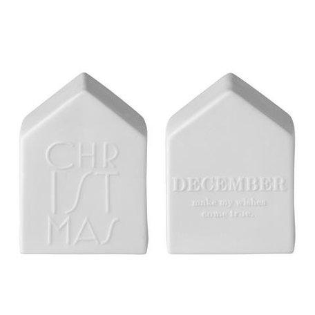 2 decoratiehuisjes in mat wit/grijs
