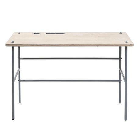 bureau hout met grijs onderstel