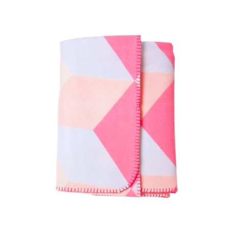 fleece deken blok roze