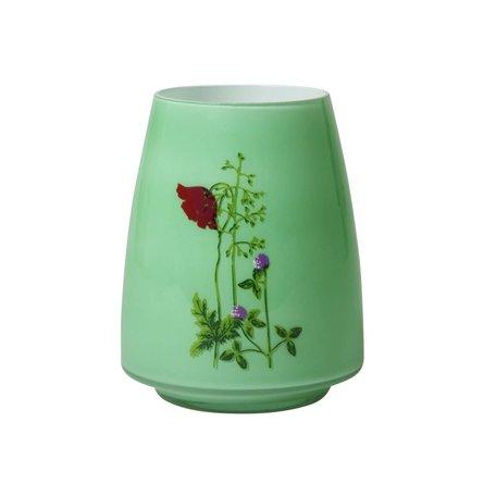 groene vaas met bloemenprint