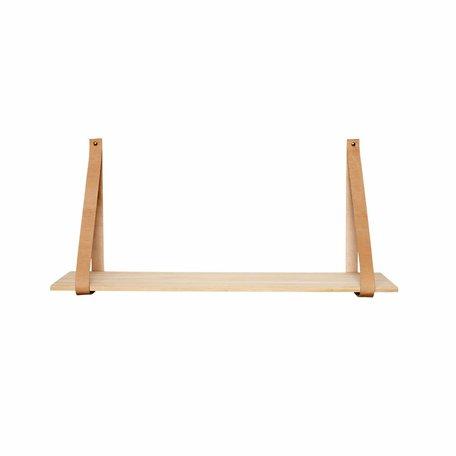 Wandplank, hout met leer